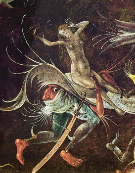 The Last Judgement, detail of a Woman being Carried Along by a Demon, c.1504 Canvas Print