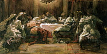 The Last Supper. Judas Dipping His Hand in the Dish, illustration for 'The Life of Christ', c.1884-96 Canvas Print