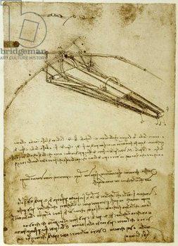 The Machine for flying by Leonardo da Vinci  - Codex Atlantique Canvas Print