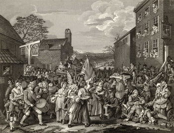 The March to Finchley, engraved by T.E. Nicholson, from 'The Works of Hogarth', published 1833 Canvas Print