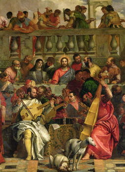 The Marriage Feast at Cana, detail of Christ and musicians, c.1562 Canvas Print