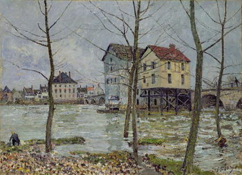 The Mills at Moret-sur-Loing, Winter, 1890 Canvas Print