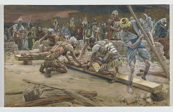 The nail for the Feet, illustration from 'The Life of Our Lord Jesus Christ', 1886-94 Canvas Print
