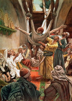 The Palsied Man Let Down Through the Roof, illustration for 'The Life of Christ', c.1886-94 Canvas Print