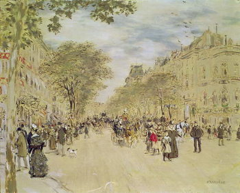 The Pavillon de Hanovre and the Boulevard des Italiens, Paris, after 1870 Canvas Print