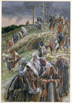 'The people, beholding the things that were done, smote their breasts', illustration for 'The Life of Christ', c.1886-96 Canvas Print