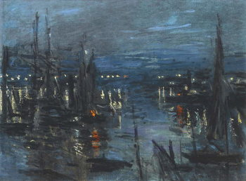 Canvas Print The Port of Le Havre, Night Effect; Le Port de Havre, effet du Nuit