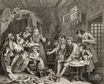 The Prison Scene, plate VII from 'A Rake's Progress', from 'The Works of William Hogarth', published 1833 Canvas Print