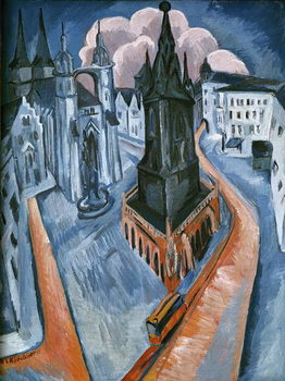 The Red Tower in Halle, 1915 Canvas Print