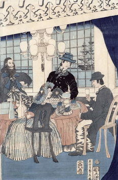 The salon of a house of foreign merchants at Yokohama, 1861 Canvas Print