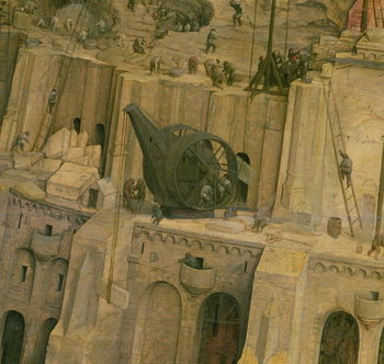 The Tower of Babel, detail of construction work, 1563 (oil on panel) Canvas Print