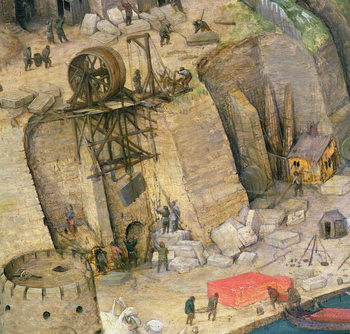 The Tower of Babel, detail of the construction works, 1563 (oil on panel) Canvas Print