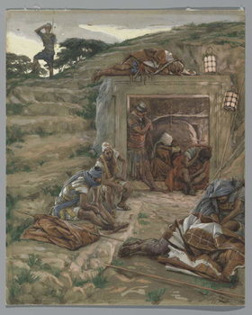 The Watch Over the Tomb, illustration from 'The Life of Our Lord Jesus Christ', 1886-94 Canvas Print