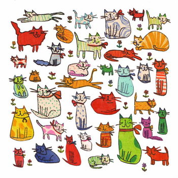 Thirty eight cats, 2018,mono print, collage Canvas Print