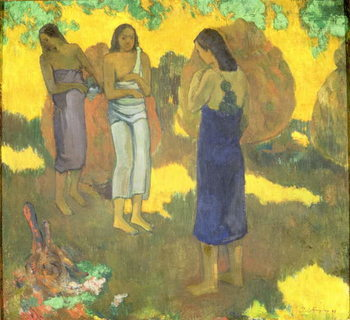 Three Tahitian Women against a Yellow Background, 1899 Canvas Print