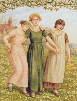 Three Young Girls, 19th century Canvas Print