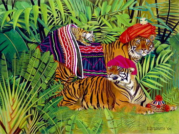 Tiger family with Thai Clothes, 2004 Canvas Print