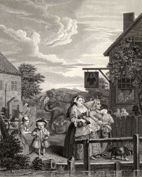 Times of the Day: Evening, from 'The Works of William Hogarth', published 1833 Canvas Print