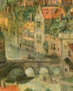 Town detail from Tower of Babel, 1563 Canvas Print