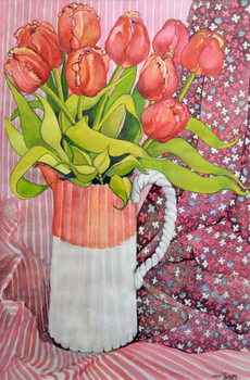 Tulips in a Pink and White Jug,2005 Canvas Print