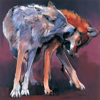 Two Wolves, 2001 (oil on canvas) Canvas Print