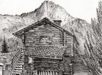 Canvas Print View from B&B Zinal Switzerland, 2011,