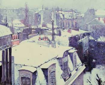 View of Roofs (Snow Effect) or Roofs under Snow, 1878 Canvas Print