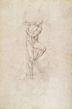 W.53r The Risen Christ, study for the fresco of The Last Judgement in the Sistine Chapel, Vatican Canvas Print