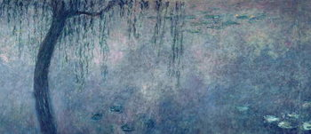 Canvas Print Waterlilies: Two Weeping Willows, left section
