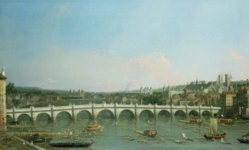 Westminster Bridge from the North with Lambeth Palace in distance Canvas Print