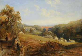Wetheral - View of the River Eden Showing Wetheral Church and Viaduct, and Corby Ferry, c.1845 Canvas Print