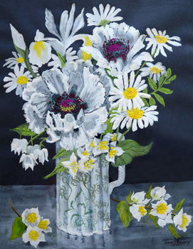 White Poppies, Marguerites and Philadelphus, Canvas Print