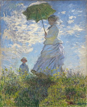Canvas Print Woman with a Parasol - Madame Monet and Her Son, 1875