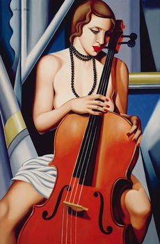 Woman with Cello Canvas Print