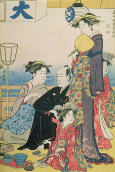 Women of the Gay Quarters, right hand panel of a diptych (colour woodblock pring) Canvas Print