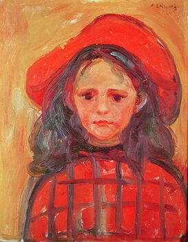 Canvas Print Young Girl in a Red Hat