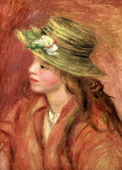 Young Girl in a Straw Hat, c.1908 Canvas Print