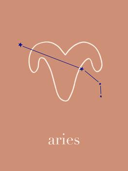 Canvas Print Zodiac - Aries - Terracotta