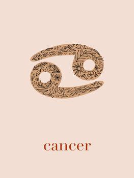 Canvas Print Zodiac - Cancer - Floral Blush