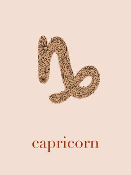 Canvas Print Zodiac - Capricorn - Floral Blush