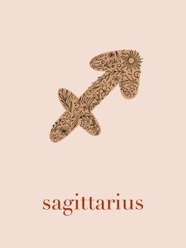 Canvas Print Zodiac - Saggitarius - Floral Blush