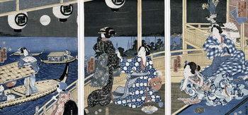 An Autumn Moon over Fukagawa (the pleasure district), from the series 'Azuma Genji' (Prince Genji from the East Capital (Edo) 1856 Canvas Print