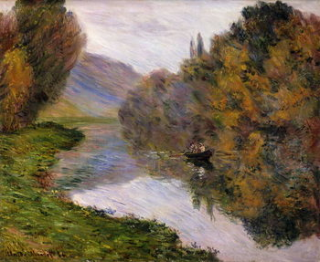 Boat on the Seine near Jeufosse, Canvas Print