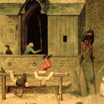 Children's Games (Kinderspiele): detail of a boy on stilts and children playing in the stocks, 1560 (oil on panel) Canvas Print