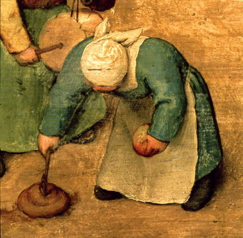 Children's Games (Kinderspiele): detail of a girl playing with a spinning top, 1560 (oil on panel) Canvas Print