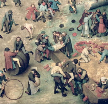 Children's Games (Kinderspiele): detail of bottom right-hand corner depicting children playing with bricks, hoops and a barrel, 1560 (oil on panel) Canvas Print