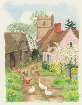 Church and Farm Track, 1998 Canvas Print