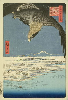 Eagle Over 100,000 Acre Plain at Susaki, Fukagawa ('Juman-tsubo'), from the series '100 Views of Edo' ('Meisho Edo hyakkei'), pub. by Uoya Eikichi, 1857, (colour woodblock print) Canvas Print