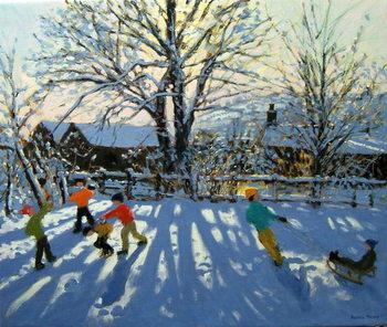 Fun in the snow, Tideswell, Derbyshire Canvas Print