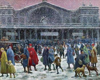 Gare de l'Est Under Snow, 1917 Canvas Print